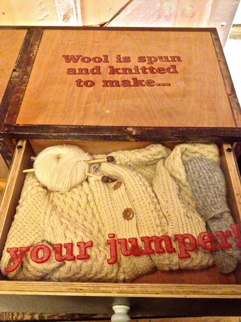 wool is spun and knitted to make... your jumper