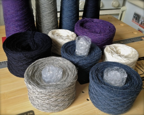 Shetland yarn cakes and cones