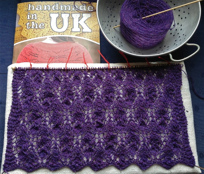 Thistle scarf: 2 lace repeats done, 5 to go