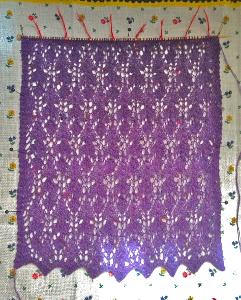 Thistle scarf, the 3rd lace repeat