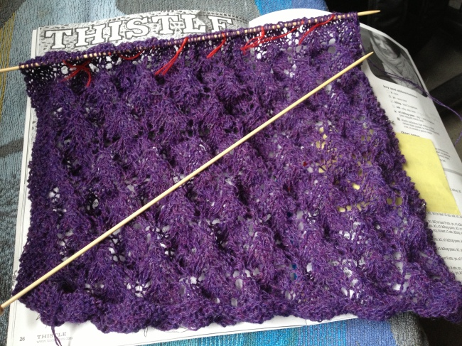 Thistle scarf, the 4th lace repeat