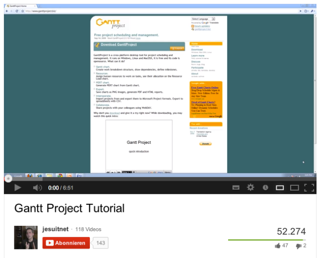 Gantt Project - YouTube tutorial