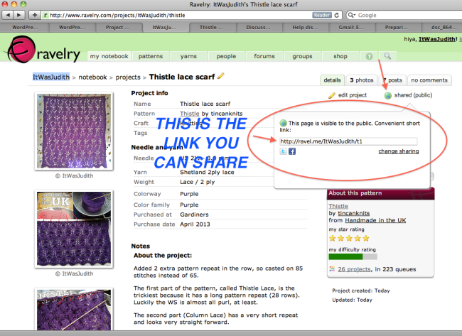 my Thistle scarf project page