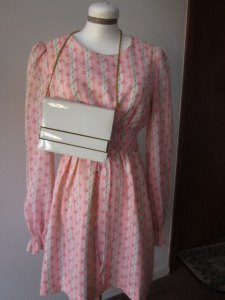 vintage peasant dress in floral pink, by E.D. Juniors of San Francisco