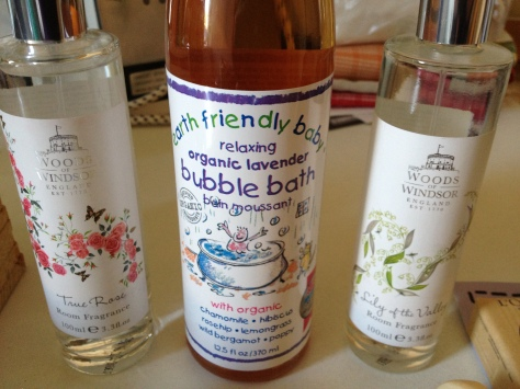 Organic baby bubble bath and house scents