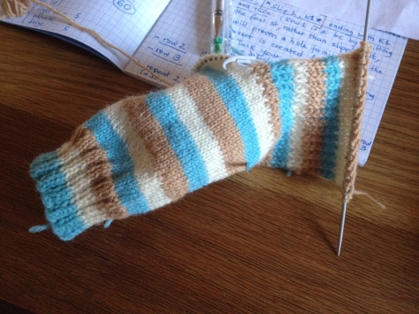 Sock-in-progress, the heel flap