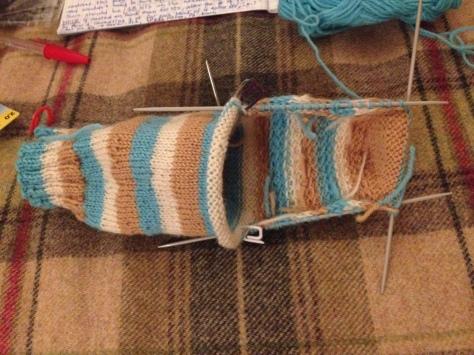 Sock-in-progress, the heel