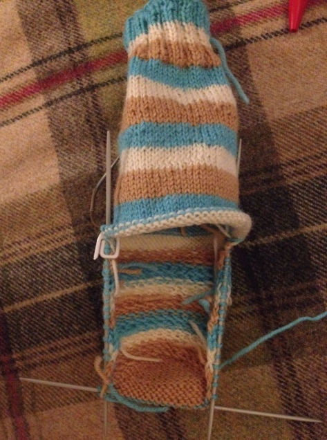 Sock-in-progress, the heel is turned